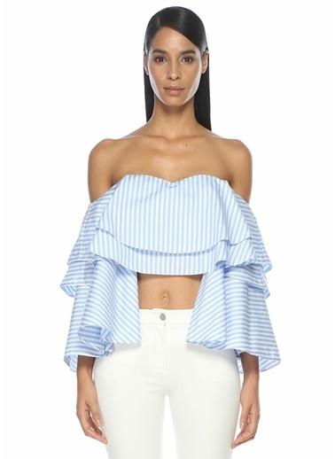 Forte Couture Kayık Yaka Volanlı Çizgili Bluz Mavi